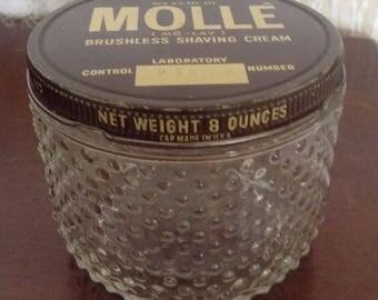 Vintage Glass Mollé Shaving Cream Hobnail Jar, 8 ounces, Centaur Co. Sterling Drug Inc.