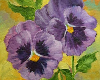 Pansy Painting IV,RESERVED for CP,Still Life Painting,Original Oil Painting On Canvas by Cheri Wollenberg