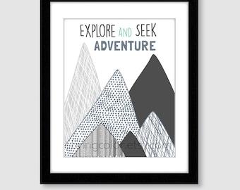Explore and Seek Adventure Wall Art Print for home, nursery, kids room outdoors mountains