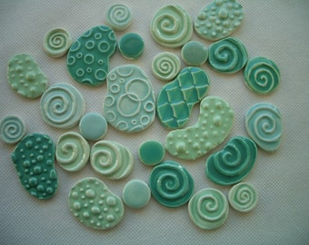 28PJ - 28 pc JADE WATER Circles - Ceramic Mosaic Tiles