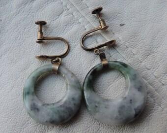 serpentine jade earrings sterling silver screwbacks