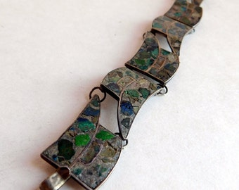 Vintage Mexican Sterling Silver Mosaico Azteca Modernist Panel Bracelet - Inlaid Chips of Turquoise Malachite Lapis - Signed RC - 1950s-60s