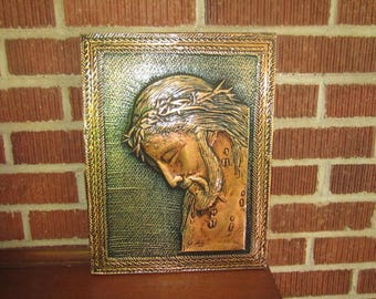 Vintage Beautiful Copper Repousse Wall Art Plaque of Christ Wearing Crown of Thorns