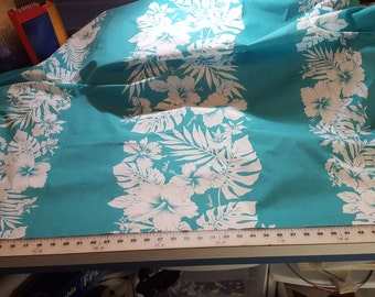 Cotton Hawaiian floral Print Light Jade Green and White Just over 2-1/2yds Trendtex