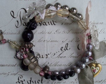 Black Licorice - Vintage Assemblage Bracelet
