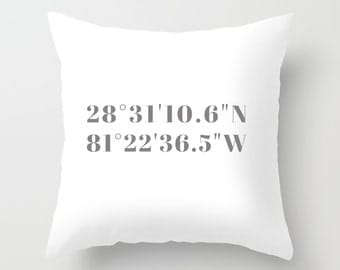 Coordinates Pillows, Gray + White Coordinates Throw Pillow or Cover, Custom Coordinates Gift, Valentines Gift, Anniversary Gift