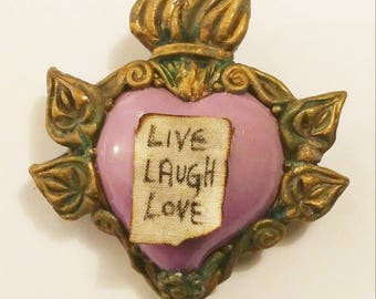 Polymer Clay EX-VOTO lilac heart brooch, hand sculpted jewelery, sacred heart, religious jewels, victorian, gothic brooches