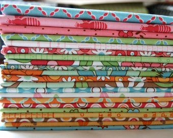 Fat Quarter Bundle RARE Out of Print Lori Holt Flower Patch Pink Blue Green Children Kids Flowers Quilting piecesofpine