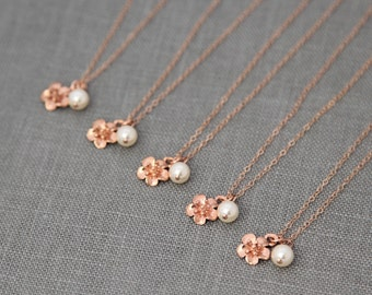 Spring Bridesmaid Necklace, Rose Gold Necklace Wedding Party, Bridesmaid Gift Set of 7, Bridesmaid Flower Jewelry