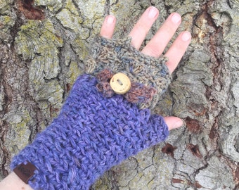 Pixie Mitts OOAK fingerless mitts in handpainted periwinkle gold indigo rust lilac Hemp wool Forest Fae Woodland Inspired tree branch Butt