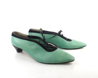 Van Eli Heels Vintage 1960s Black Teal Lace up Women's size 7 1/2 M