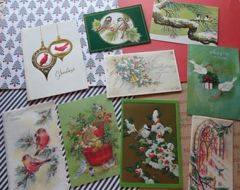 Birds are Singing and Winging Holiday Greetings to You in Vintage Christmas Card Lot No 1047 Total of 8