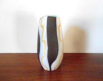 Modernist Fohr Keramik West German Pottery Vase / Abstract Decor / Brown, Yellow, White