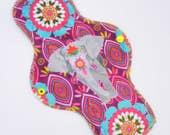 "11.5"" Heavy Cloth Pad, Minky Cloth Menstrual Pad by MotherMoonPads, Overnight Pad, Incontinence Pad, Elephant Festival Minky, Windpro"