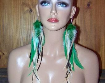 Green Feather Earrings, Summer Earrings, Christmas Jewelry, Green Earrings, Polka dots, Green and White