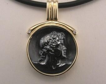 Cameo & Diamond Pendant, Hand Carved Apollo Hematite Stone, Unique Designer Fine Jewelry, 14KY Gold Necklace, Black Neck Cord, Free Shipping