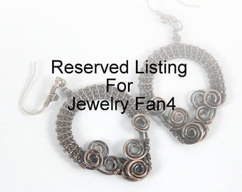 Reserved Listing For JewelryFan4, Copper Wire Wrapped Earrings, Boho, Bohemian, Dark Metal, Handcrafted, Canada, Modern