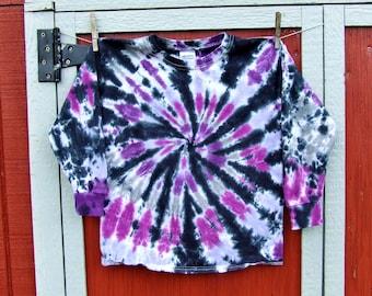 Youth Small Long Sleeve Tie Dye T-Shirt - Cosmic Purple Swirl - Ready to Ship