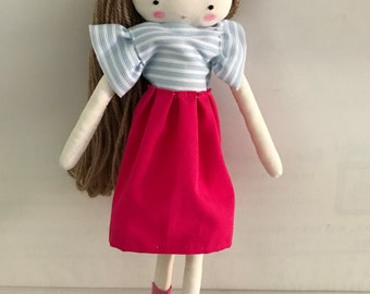 Handmade rag doll , Laia- ooak cloth art rag doll shirt and skirt, bow and socks toys for girls