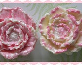 FLOWER SoAP Gift Set Of 2 - Beautiful Sparkling Pink & White - Mom - Birthday - Florist - Garden Party Floral Club - Thank You Hostess Gift