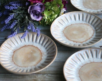 Set of Four Handcrafted Dessert Dishes in Creamy White and Ocher Glaze Rustic Stoneware Pottery Made in USA Ready to Ship