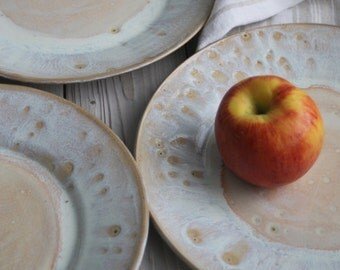 White Dinner Plates With Ocher Speckles Set of Four Rustic Handmade Ceramic Dishes Stoneware Dinnerware Ready to Ship Made in USA