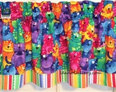 Rainbow Cats and Stripes Cat Lovers Whimsical Decor Window Treatment Valance Kitchen Curtain Bedroom Curtain Colorful Valance Free Shipping
