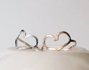 Open Heart Ring / Valentines Day Gift / Gifts for Her / Sterling Silver or 14k Gold Filled / Dainty Jewelry / Love / Handmade Ring