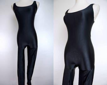 1980s Black Spandex Catsuit Jumpsuit Onesie Tank Sleeveless Dance Costume Stirrup Small Medium 80s Outfit