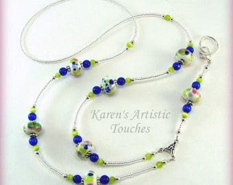 NEW!! LANYARD ID Badge Holder Lampwork Spring Colors Navy, Lime Green, Necklace, Custom Badge Holders, Neck Strap, breakaway