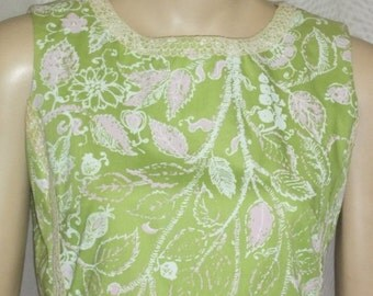 CHRISTMAS SALE Vintage Mod Retro The Lilly Pulitzer Shift Dress 8 Green Pink