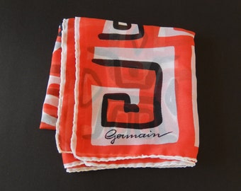 vintage scarf/designer scarf/Germain/1960s/psychedelic/red black white/ladies accessory