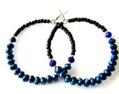 Large Hoop Earrings made from Electric Blue and Black Glass Beads