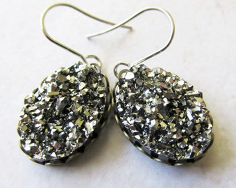 Metallic Silver Oval Faux Druzy Drop Earrings   Shiny Sparkly Earrings for Women   Simple Everyday Wear Earrings   Gift for Her