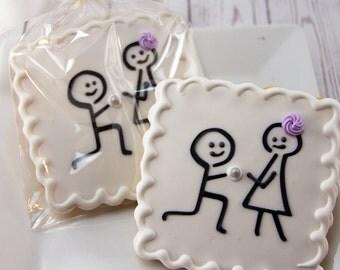 Engagement Cookies, Wedding Cookies, Stick Figure - 12 Decorated Sugar Cookie Favors