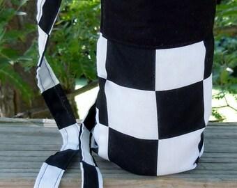 Black White Racing Checkered Flag - Water Bottle Cozy, Pop Holder, Sling, Drink Cozie