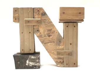 """Wooden letters """"N"""". Industrial letters. Wall hanging initals Letter, Hanging Wood Letters,Nursery Letters"""