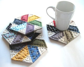Colorful and Scrappy Quilted Fabric Coasters, Housewarming Hostess Gift, Mug Mats, Primitive Decor Rustic Country Home Decor Farmhouse Decor