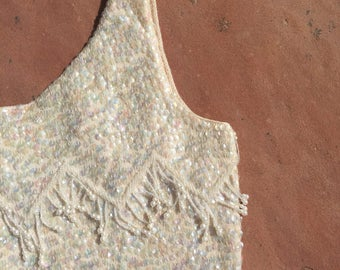 The Pretty Woman Beige Hand Beaded Sequin Cocktail Wool Tank Blouse Top
