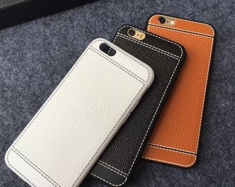 Simulated Leather Apple IPhone 7, and 7 plus case, pick your color in orange, white, black