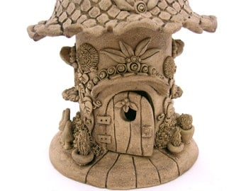 Gnome House Jolly Handbuilt Ceramic Garden Decoration Gardener Gift garden art sculpture outdoor folk art woman gift keepsake ooak clay home