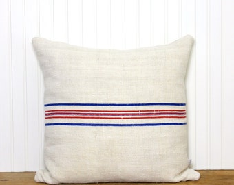 Antique Grain Sack Pillow Cover - Stripe Pillow - Decorative Pillow - Red-Blue Stripe - Cottage - Farmhouse Decor - Beach House - Reversible