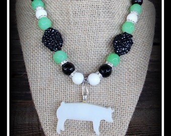 """Glass Yorkshire Show Hog, Pig Pendant On Gemstone Beaded Necklace Approx 18"""""""