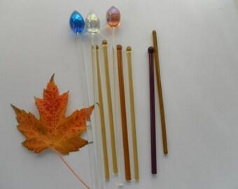 Nine Vintage Glass Swizzle  Sticks Stirrers