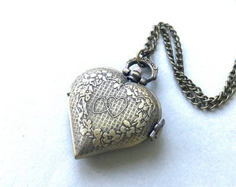Antique Brass Double Heart Pocketwatch Necklace