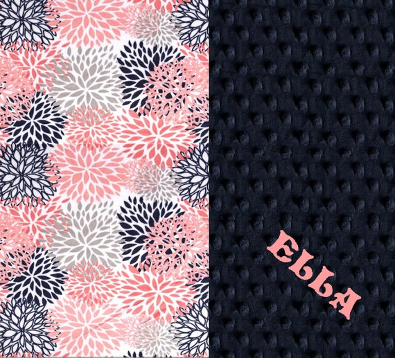Baby Blanket / Personalized Baby Blanket Girl - Blooms Flowers Navy Gray Coral Stroller Blanket - Nursery Decor // Name Baby Blanket