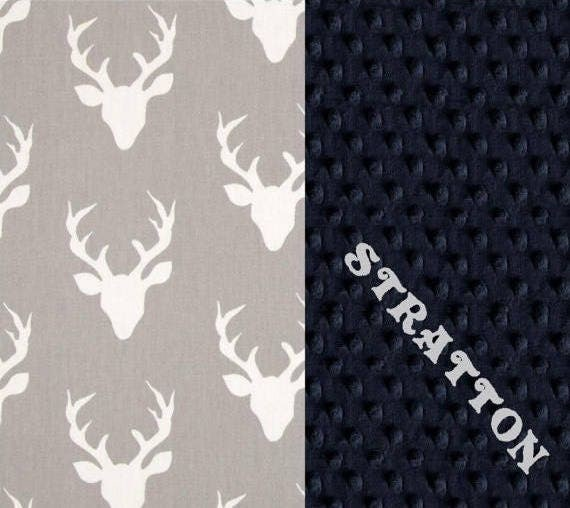 42 x 55 Crib Size Cotton Minky Boy Baby Blanket, Personalized Navy Blue Deer Gray // Deer Blanket // Name Baby Blanket // Gray Blanket