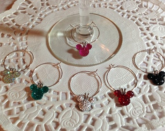 Disney Reception Mouse Ears Wine Charms in Bright Colors Home Barware Shower Gift Original Creator Mouse Ears Collection 2012