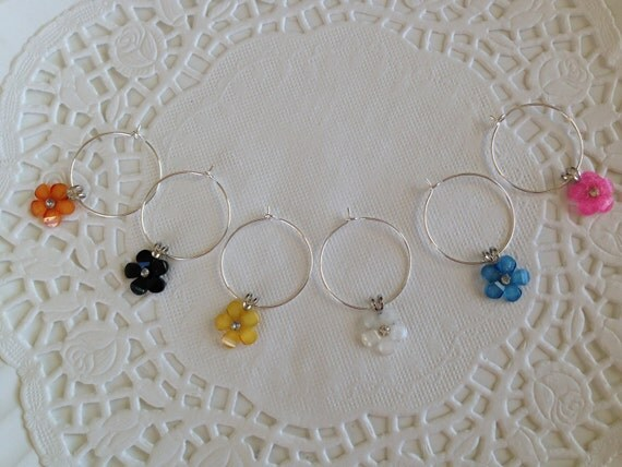 6 Wine Charms Flowers Home Barware Shower Gift Kitchen Charm Hostess Gift Wine Party