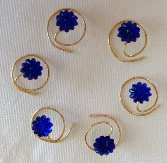Vintage Blue Hair Swirls Hair Spins Prom Spirals Twists Pinwheel Flower Hair Coils